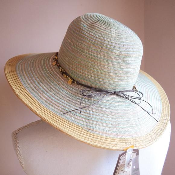 Sun N Sand Multi Color Beaded Bow Floppy Beach Hat 853d92329443
